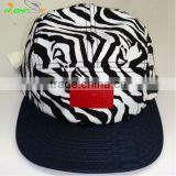 Good quality and OEM service custom debossed leather patch 5 panel ZEBRA pattern camp skull cap