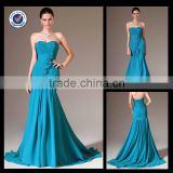 E0114Wholesale Cheap long evening dress online shopping turquoise blue cut mermaid evening dresses