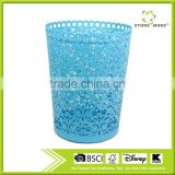 Grapevine pattern metal punched waste bin/ blue round beautiful dustbin