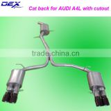 stainless steel exhaust catback for audi A4L with cutout kit