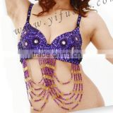 Wholesale stage performance clothing,ladies sequin embellished bra top for bellydance