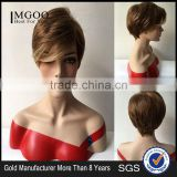 Women Party Short Straight Light Brown Natural Synthetic Full Wig American Women Synthetic Wigs