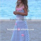 stylish kids clothes wholesale Bohemian pinafore stripe pattern dress children maxi dress cheap wholesale price