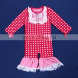 LY-140 wholesale toddler long sleeve romper pink polka dot organic ruffle baby girl jumpsuit clothes
