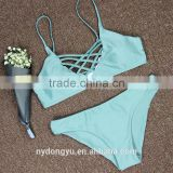 sky blue 3 color hand woven swimwear bikini/kesg bandage crotched r bikini swimwear/ fancy bikini set swimwear beachwear