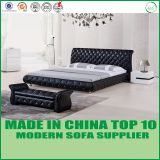American style high headboard genuine leather sleigh bed LB1101
