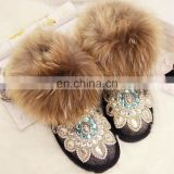 Aidocrystal 2016 Winter new style Women rhinestone warm fur black ankle snow boots