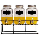 3PC YORKSHIRE GLASS BEVERAGE DISPENSER WITH CHALKBOARD  AND  BLACK RACK