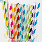197*6mm striped eco paper straw disposable wrapped paper straw
