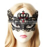 Chinese Factory High Quality Item Crown Design Ruby Lace Masquerade Party Mask Wholesale