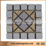 Wellest G658 G603 Mixed Meshed Granite Paving Stone,Cobble and Cube Stone on Meshed,Five Faces Natural,Bottom Saw Cut