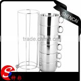 New product glass modern coffe tea sets double wall vacuum insulated stainless steel turkish coffee cups with 7pcs set
