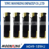 wholesale black color windproof electronic lighter, refillable cigarette lighter with led