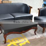 Classical black leather 1 3 chesterfield sofa set with coffee table XYN186