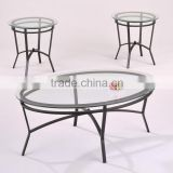 Modern coffee table set/ Black round coffee table and end table
