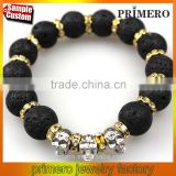 Fashion Natural Stones Skull Bracelet For Women Lava Stone Beads Jewelry