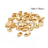 TOP Quality 10mm/12mm Gold Plated Jewelry Lobster Claw Clasp Findings 100pcs per Bag for Jewelery Making