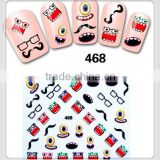 2015 hot sale eco friendly high quality diamond heart cartoon mustache lip nail art sticker decoration
