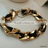 Yiwu Landy jewelry fabric and gold plating intertwined chain bracelet