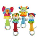 Soft Plush Educational Animal Rattle Hand Bells Baby Toy