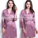new arrival women's robes free shipping sleepwear bathrobes for female high quality silk nightwear V-neck with waistband hot