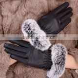 2014 women's fashion genuine leather gloves rex rabbit hair soft thermal sheepskin gloves