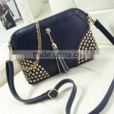 new stylish zip rivets lady handbag oblique across Europe and tassel shoulder hand bag wholesale