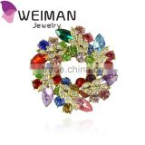 Delicate plenty Colors Women Lady Crystal Circle Flower brooch,Rhinestones Crystals Redbuds Brooches Corsage Pin Clips