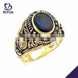 Gold plated deep blue topaz & white diamond silver ring