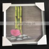 212214 - 11x11'' (28x28cm) 3D painting , Square 3D picture frame, bamboo with cobblestone