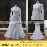 Newest Style High Neck Long Sleeve Appliqued Lace See Through Bottom Plus Size Wedding Dress