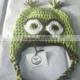 NEW - Owl Beanie in Sweetpea & Chocolate Custom Green and Brown Photo Prop Pick Your Size Crochet Baby Hat Gift Blue Boy