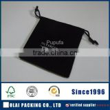 Jewellery drawstring velvet pouch black with golden logo customized