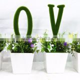 China factory wholesale artificial potted bonsai with moss letter plastic plant for birthday gift and indoor decoration