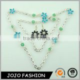 China Manufacturer Supply handmade azure epoxy alloy flowers and green opal stones earring and necklace Jewelry Sets