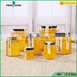 380ml Hexagon glass jar for honey with black tin lid wholesale