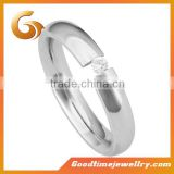 Nice titanium ring with single one stone, engagement ring and wedding ring                                                                         Quality Choice