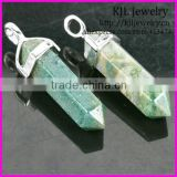 KJL-BD5185 Wholesale Natural White-K Gems Stones Hexagonal Point Reiki Chakra Necklace Earrings India Agate Pendant Beads