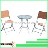 Glass top table 3 pcs cheap outdoor bistro sets