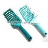 High quality plastic vent hair brush curved hair brush ionic nylon bristle