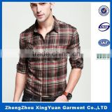 Slim fit men casual shirts long sleeve without pocket stand collar body wear mens flannel shirt