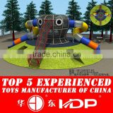 outdoor play structure with climbing rope with tube slide