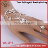 Silver Thin Chain Bracelet Women Jewelry Wrist Bracelet Chain Attached Ring Rhinestone Jewelry