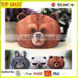 DOG PANDA BUNNY 3D Animals Print Coin Purse Zip Around Plush Changes Bag Girls Mini Wallet