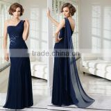 Beaded floor length customize one shoulder 2014 navy blue mother of the bride dress CWFam5787