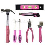 Pink 7-Tool Combination Set - Utility Knife, Screwdriver Set, Claw Hammer, Torpedo Level, Diagonal Pliers and Adjustable Wrench