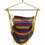 65%cotton 35% polyester fringe camping hammock chair with wood spreader bar stripe swing chair