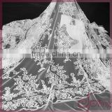 White elegant mesh embroidery lace,bridal sequin beaded lace fabric for wedding dress