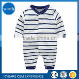 2017 Mommy Favorite Classic Navy Stripe Baby Organic Cotton Clothes Romper for Southest Asia Market