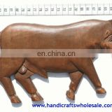 Large Handmade Wall Art Bull Figurine Unique Farm Animals Statues Affortable Novelty Collectible Woodcraft Gifts Unique Ornament